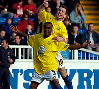 Photo: Jed Wee/Sportsbeat Images.<br /> Hartlepool United v Hereford United. Coca Cola League 2. 03/03/2007.<br /> <br /> Hereford's Danny Thomas (L) celebrates scoring their first equaliser with Andy Williams.
