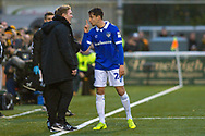 Oldham Athletic midfielder Mohamed Maouche (28) argues with Maidstone United manager Harry Wheeler during the The FA Cup match between Maidstone United and Oldham Athletic at the Gallagher Stadium, Maidstone, United Kingdom on 1 December 2018. Photo by Martin Cole