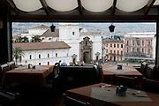 Plaza Santo Domingo seen from the Real Audiencia Hotel. Quito, Pichincha, Ecuador. February 17, 2013.