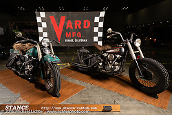 A pair of Harley-Davidson Knuckleheads with VARD front ends on display in the Stance booth at the 27th Annual Mooneyes Yokohama Hot Rod Custom Show 2018. Yokohama, Japan. Saturday, December 1, 2018. Photography ©2018 Michael Lichter.