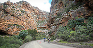 The imposing cliffs of the Seweweekspoort provide breathtaking views for the riders during the Ladismith Cheese 7Weekspoort MTB Challenge, on the 1st October 2016<br /> <br /> Photo by:    /Oakpics/ SPORTZPICS<br /> <br /> <br /> {dem16gst}