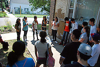 USA, Chicago, August 25, 2009.  Volunteers brief participants in a local leadership program about toxic sites in the area. The Little Village Environmental Justice Organization, headquartered in a predominantly Mexican-American neighborhood of Chicago, campaigns not only against pollution but for clean power, park facilities, urban agriculture, and restoring public transit. LVEJO's staff and volunteers make significant outreach and education efforts, especially for youth. Photo for an HOY feature story by Jay Dunn.