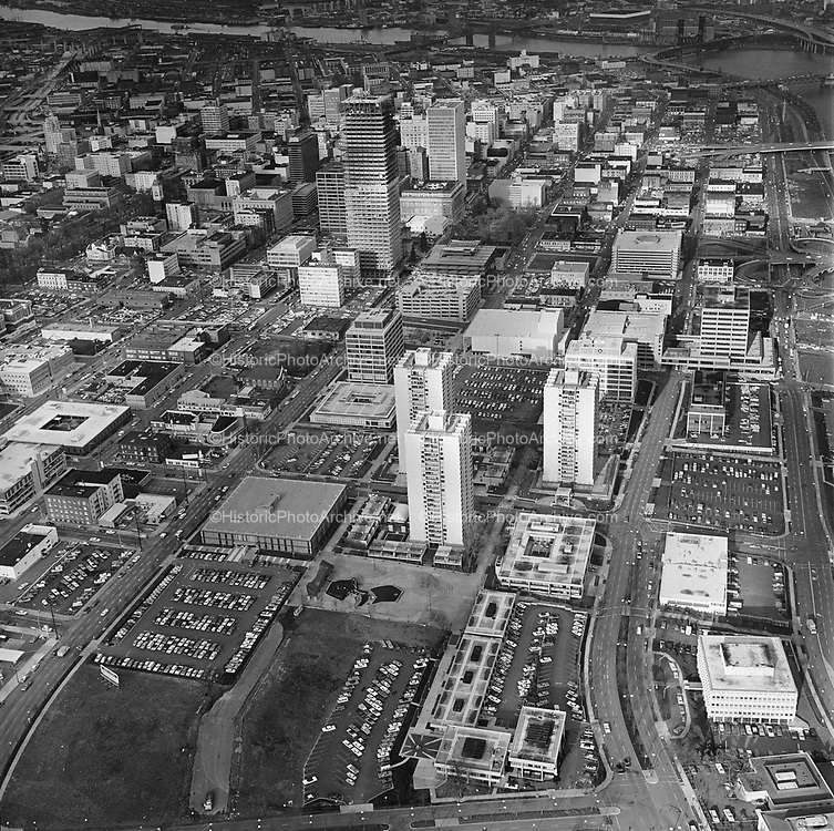 Y-710126B-07.  Portland Center Apartments, 200 SW Harrison, Portland, Oregon. View looking north. January 26, 1971