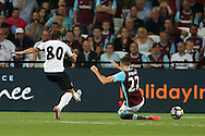 Filipe Teixeira of Astra Giurgiu shoots and scores his sides 1st goal to make it 0-1 on the night.  UEFA Europa league, 1st play off round match, 2nd leg, West Ham Utd v Astra Giurgiu at the London Stadium, Queen Elizabeth Olympic Park in London on Thursday 25th August 2016.<br /> pic by John Patrick Fletcher, Andrew Orchard sports photography.