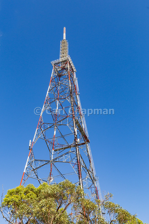 Lattice television broadcast tower and tv antennas at Mt Stuart, Townsville, Queensland, Australia <br /> <br /> Editions:- Open Edition Print / Stock Image