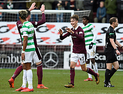 Hearts Harry Cochrane (no 47) celebrates with Kyle Lafferty after scoring his side's first goal of the game during the Ladbrokes Scottish Premiership match at Tynecastle Stadium, Edinburgh.