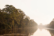 A moat surrounds the Angkor Temple complex in Siem Reap Province, Cambodia
