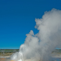 Clepsydra Geyser erupts at Lower Geyser Basin in Wyoming's Yellowstone National Park.