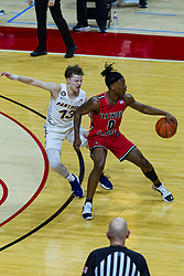 NORMAL, IL - February 27: DJ Horne controls the ball while defended by Bowen Born during a college basketball game between the ISU Redbirds and the Northern Iowa Panthers on February 27 2021 at Redbird Arena in Normal, IL. (Photo by Alan Look)