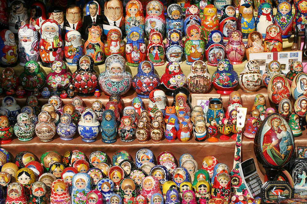 Hand painted nesting dolls, Moscow, Russia.