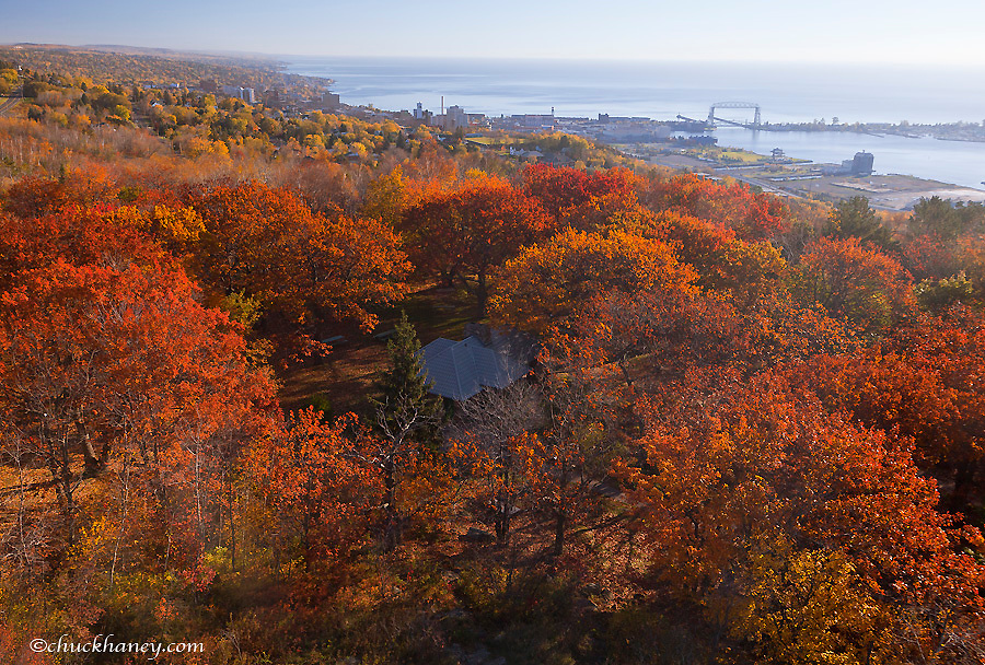 Looking down onto Duluth, Minnesota from Enger Tower