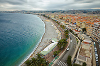 View from Bllanda Tower of the Bay of Angels, The Mediterranean Sea, and Nice, France.