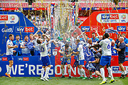 PROMOTED promotion Tranmere Rovers players celebrate with the trophy after the EFL Sky Bet League 2 Play Off Final match between Newport County and Tranmere Rovers at Wembley Stadium, London, England on 25 May 2019.