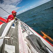 Leg 4, Melbourne to Hong Kong, day 01 on board MAPFRE, Leg start, Louis Sinclair. Photo by Ugo Fonolla/Volvo Ocean Race. 02 January, 2018.