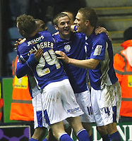 Photo: Steve Bond/Richard Lane Photography. Leicester City v Swansea City. FA Cup Third Round. 02/01/2010. Dany N'Guessan celebrates his late winner