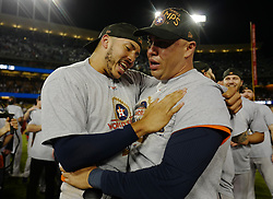 November 1, 2017 - Los Angeles, California, U.S. - Houston Astros' Carlos Correa, left, celebrates with Carlos Beltran as they defeat the Los Angeles Dodgers 5-1 in game seven of a World Series baseball game at Dodger Stadium on Nov. 1, 2017 in Los Angeles. (Photo by Keith Birmingham, Pasadena Star-News/SCNG) (Credit Image: © San Gabriel Valley Tribune via ZUMA Wire)