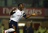 Photo: Chris Ratcliffe.<br />Arsenal v West Ham. Barclays Premiership. 01/02/2006.<br />Nigel Reo-Coker celebrates his goal and the West Ham win.