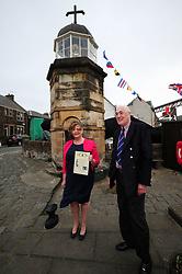 Fiona-Hyslop_North-Queensferry-Pier_24-04-2019<br /> <br /> Fiona Hyslop with James Lawson<br /> <br /> (c) David Wardle   Edinburgh Elite media