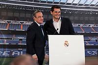 President of Real Madrid, Florentino Pérez and Porto FC new goalkeeper, Iker Casillas, during Iker Casillas tribute at Santiago Bernabeu Stadium in Madrid. July 13. 2015.<br />  (ALTERPHOTOS/BorjaB.Hojas)