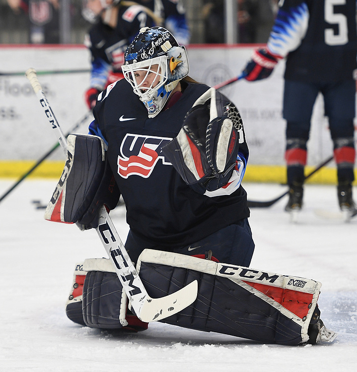 CRANBERRY TOWNSHIP, PA - NOVEMBER 08: Maddie Rooney #35 of the United States makes a save during warmups before the game against Canada at UPMC Lemieux Sports Complex on November 8, 2019 in Cranberry Township, Pennsylvania. (Photo by Justin Berl/For The Ice Garden)