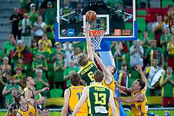 Mindaugas Kuzminskas #6 of Lithuania during basketball match between national team of Ukraine and Lithuania of Eurobasket 2013 on September 15, 2013 in SRC Stozice, Ljubljana, Slovenia. (Photo By Matic Klansek Velej / Sportida.com)