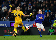 Harvey Barnes of Leicester City beats Pepe Reina of Aston Villa to the ball to score the first goal during the Premier League match at the King Power Stadium, Leicester. Picture date: 9th March 2020. Picture credit should read: Darren Staples/Sportimage