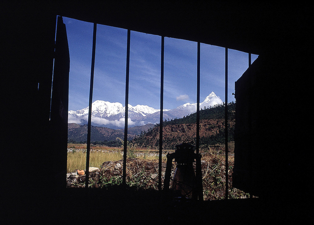 View from the Gurkha compound at Pockera towards Annapurna and Dhaulagiri, Himalayan range. 1969. Photographed by Terry Fincher