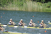 Lucerne, SWITZERLAND.   GBR W4X, Bow, Beth RODFORD, Mel WILSON, Fran HOUGHTON and Vicky THORNLEY, moving away from the start at the 2012 FISA World Cup II, Lucerne Regatta.  Rotsee Rowing Course,  Friday  25/05/2012  [Mandatory Credit Peter Spurrier/ Intersport Images]