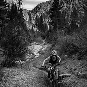 Heather Goodrich riding the technical single track of the Palisades Wilderness Study Area.