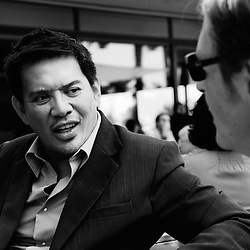 Kinatay's director Brillante Mendoza being interviewed par Le Monde's Jacques Mandelbaum at the Palais Stephanie. Official screening day at the 62th Cannes Film Festival. France. 17 May 2009. Photo: Antoine Doyen
