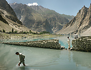 Part of the village that was submerged by the lake which was created during a massive landslide in January 2011. <br /> Around Attabad lake, upper Hunza.
