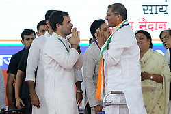 March 26, 2019 - Jaipur, Rajasthan, India - Congress President Rahul Gandhi greets  with Ex BJP Leader Vishnu Latha as he join the congress party during the party function 'Sanvad' in Jaipur ,Rajasthan,India on March 26,2019. (Credit Image: © Vishal Bhatnagar/NurPhoto via ZUMA Press)