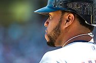 Cleveland Indians DH Carlos Santana looks on during a game against the Minnesota Twins at Target Field in Minneapolis, Minnesota on July 29, 2012.  The Twins defeated the Indians 5 to 1.  © 2012 Ben Krause