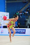 Zeng Laura  during qualifying at ball in Pesaro World Cup 01 April 2016. Laura was born in Hartford, Connecticut in October 14, 1999. She is an American individual rhythmic gymnast.