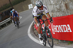 March 18, 2017 - San Remo, Italie - SANREMO, ITALY - MARCH 18 : SAGAN Peter (SVK) Rider of Team Bora - Hansgrohe is attacking on the Poggio climb in front of ALAPHILIPPE Julian (FRA) Rider of Quick-Step Floors Cycling team and KWIATKOWSKI Michal (POL) Rider of Team SKY during the UCI WorldTour 108th Milan - Sanremo cycling race with start in Milan and finish at the Via Roma in Sanremo on March 18, 2017 in Sanremo, Italy, 18/03/2017 (Credit Image: © Panoramic via ZUMA Press)