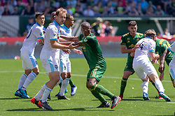 May 13, 2018 - Portland, OR, U.S. - PORTLAND, OR - MAY 13: Portland Timbers forward Fanendo Adi jockeys for position in a corner with Seattle Sounders defender Chad Marshall during the Portland Timbers 1-0 victory over the Seattle Sounders on May 13, 2018, at Providence Park in Portland, OR. (Photo by Diego Diaz/Icon Sportswire) (Credit Image: © Diego Diaz/Icon SMI via ZUMA Press)