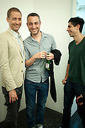 STUART COMER; PABLO BRONSTEIN; DAVID VELASCO, Pablo Bronstein, Sketches for Regency Living. Private view. ICA. The Mall. London. 8 June 2011. <br /> <br />  , -DO NOT ARCHIVE-© Copyright Photograph by Dafydd Jones. 248 Clapham Rd. London SW9 0PZ. Tel 0207 820 0771. www.dafjones.com.