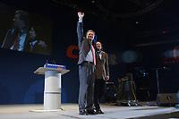 12 JAN 2003, BRAUNSCHWEIG/GERMANY:<br /> Christian Wulff, CDU Landesvorsitzender Niedersachsen, seine Ehefrau Christiane Wulff, Wahlkampfauftakt der CDU Niedersachsen zur Landtagswahl, Volkswagenhalle<br /> IMAGE: 20030112-01-019<br /> KEYWORDS: Spitzenkandidat