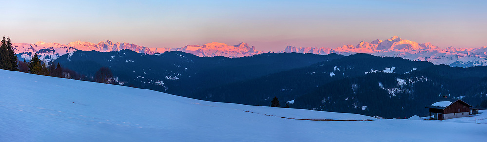View of Mont Blanc,  Les Grandes Jorasses, L'Agile Verte and Les Dentes Blanches
