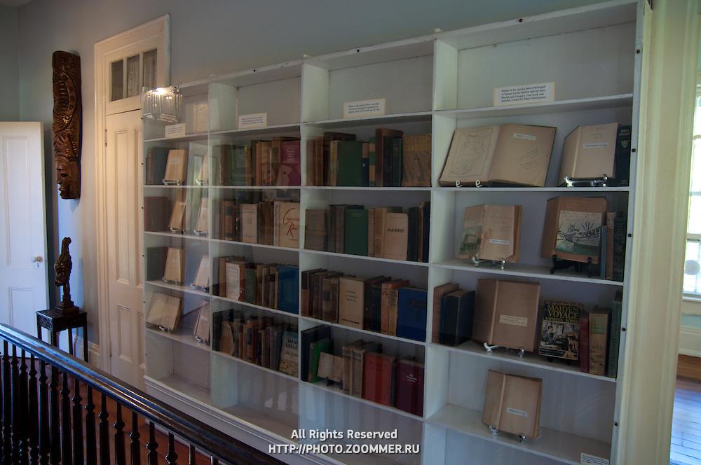 Bookshelf In Ernest Hemingway Home And Museum, Key West, Florida