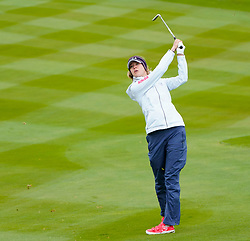 Auchterarder, Scotland, UK. 12 September 2019. Final practice day at 2019 Solheim Cup on Centenary Course at Gleneagles. Pictured; Nelly Korda plays her approach to the 7th green,  Iain Masterton/Alamy Live News