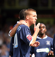 Photo: Chris Ratcliffe.<br />Southend United v Stoke City. Coca Cola Championship.<br />05/08/2006.<br />Freddy Eastwood of Southend celebrates scoring the first Southend goal from the penalty spot.