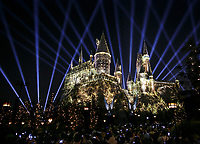 Light show projected onto Hogwarts Castle at Universal Studios in Universal City July 10, 2017  Photo by David Sprague