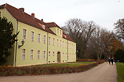A smaller building seen in the Marmorpalais Marble Palace Gardens, known as the Neuer Gardens. The Palace was designed by Carl von Gontard and Carl Gotthard and is in the Neoclassical style, Potsdam, Brandenburg, Germany.
