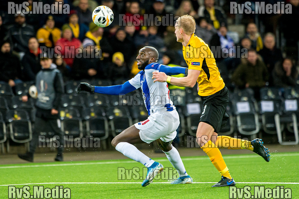 BERN, SWITZERLAND - NOVEMBER 28: #11 Moussa Marega of FC Porto fights for the ball with #3 Frederik Sorensen of BSC Young Boys during the UEFA Europa League group G match between BSC Young Boys and FC Porto at Stade de Suisse, Wankdorf on November 28, 2019 in Bern, Switzerland. (Photo by Robert Hradil/RvS.Media)