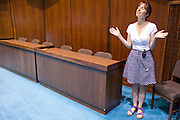 07 MAY 2009 -- PHOENIX, AZ: Lynne Pyrce (CQ) from Phoenix, prays in the house chambers during the National Day or Prayer services at the State Capitol in Phoenix Thursday. About 30 people came to the capitol to pray for government officials at the desks of legislators.  Photo by Jack Kurtz