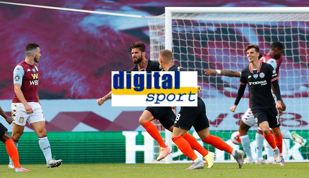 Football - 2019 / 2020 Premier League - Aston Villa vs. Chelsea<br /> <br /> Olivier Giroud of Chelsea celebrates scoring at Villa Park. <br /> <br /> <br /> COLORSPORT/LYNNE CAMERON