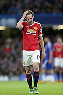 Daley Blind of Manchester United looking dejected after missing a chance to score. Barclays Premier league match, Chelsea v Manchester Utd at Stamford Bridge in London on Sunday 7th February 2016.<br /> pic by John Patrick Fletcher, Andrew Orchard sports photography.
