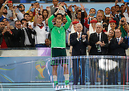 Germany's Manuel Neuer picks up his Golden Glove award during the 2014 FIFA World Cup Final match at Maracana Stadium, Rio de Janeiro<br /> Picture by Andrew Tobin/Focus Images Ltd +44 7710 761829<br /> 13/07/2014