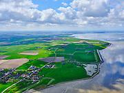 Nederland, Noord-Holland, Wieringen; 07-05-2021; het (voormalig) eiland Wieringen ter hoogte van de zeewering bij Vatrop en Oosterland,  gezien vanuit het Noorden (vanuit de Waddenzee).<br /> The (former) island of Wieringen near the seawall at Vatrop and Oosterland, seen from the north (from the Wadden Sea).<br /> <br /> luchtfoto (toeslag op standaard tarieven);<br /> aerial photo (additional fee required)<br /> copyright © 2021 foto/photo Siebe Swart